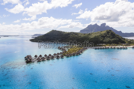 aerial view of stilt houses by