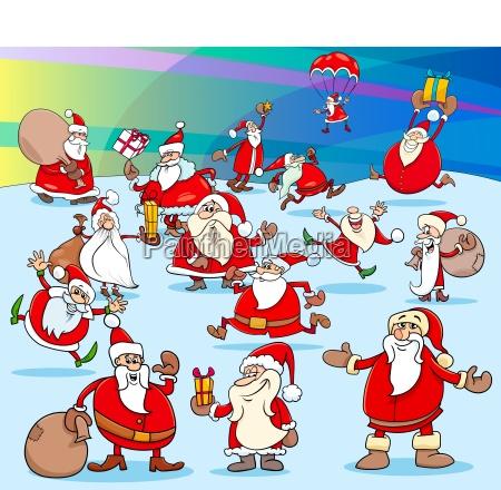 christmas sanat claus cartoon characters group