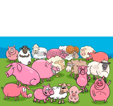 pigs and sheep farm animal characters