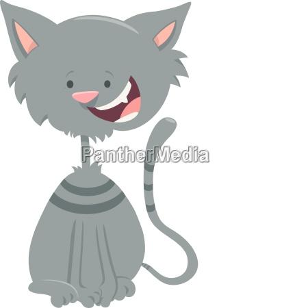 happy gray tabby cat cartoon animal