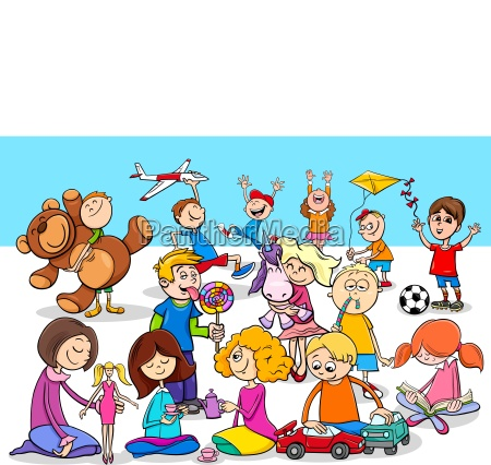 playful children cartoon characters group
