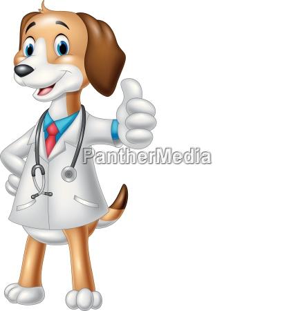 cartoon dog wearing a veterinarians costume