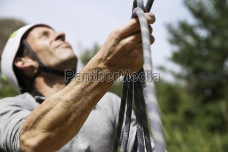 close up of mature man holding