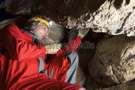 low angle view of archaeologist working