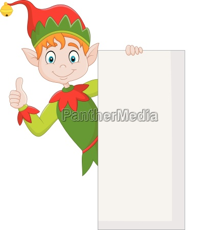 cute green elf holding blank sign