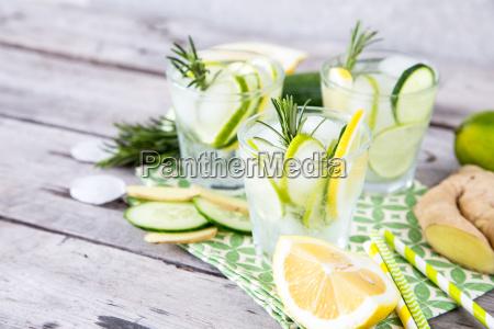 homemade lemonade with lime rosemary ginger