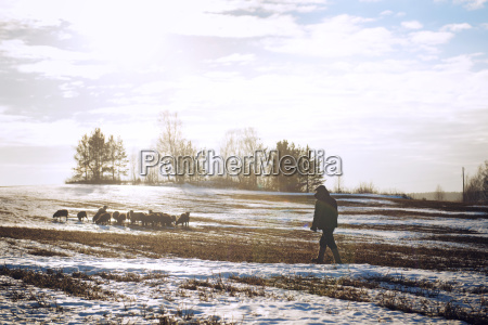 man walking on snow covered field