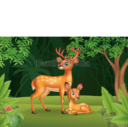 cartoon deer with her calf