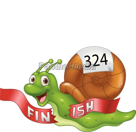cartoon snail crosses the finish line