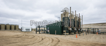 oil production platform on field at