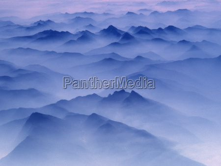 aerial view of mountain range covered