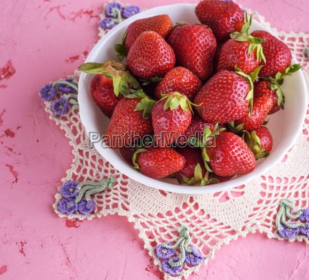 fresh ripe red strawberries in a