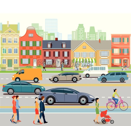 city with car traffic and pedestriansillustration