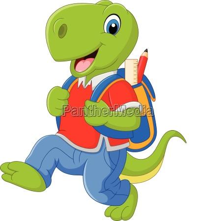 cartoon funny dinosaur with backpack