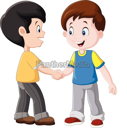 illustration of little boys shaking hands