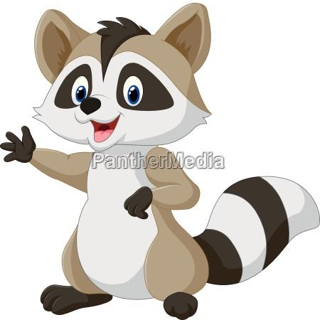 cartoon happy raccoon waving hand