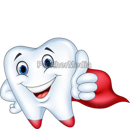 superhero tooth cartoon with thumb up