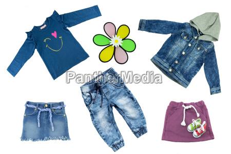 collage set of children clothes concept
