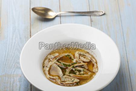 bavarian pancake soup in plate