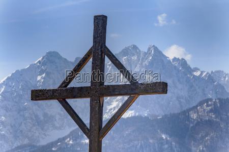 cross in winter in the tyrolean