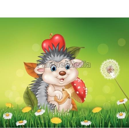 cute little hedgehog sitting in the