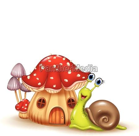 beautiful mushroom house and happy snail