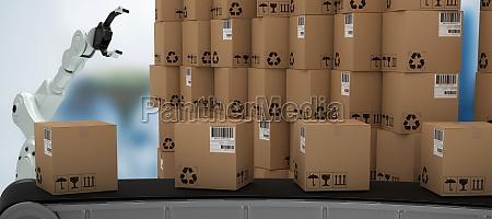 composite image of 3d production line