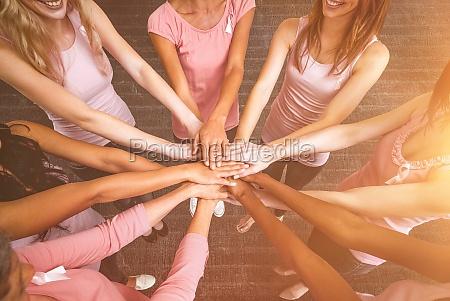 composite image of women in pink
