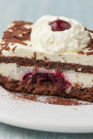 black forest cake on a plate