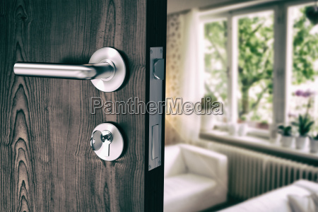 composite image of brown door with
