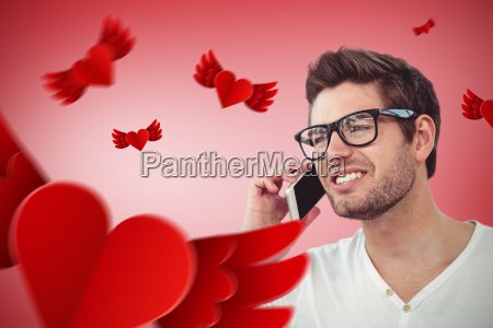 composite image of handsome man using