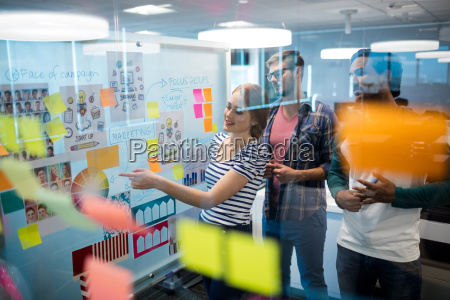 creative business team reading sticky notes