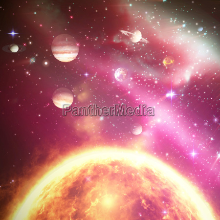 composite image of planets over sun