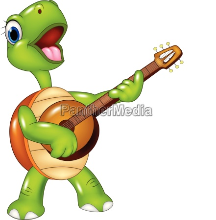 cartoon turtle playing a guitar