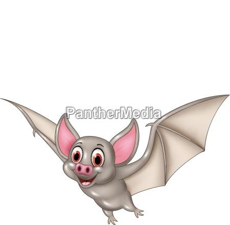 bat cartoon flying isolated on white