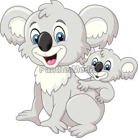 cartoon funny baby koala on mothers