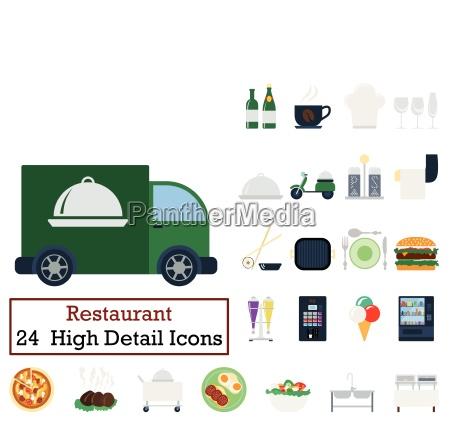 set of 24 restaurant icons