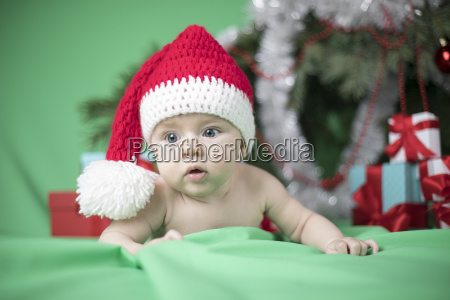 baby, in, christmas, hat - 25106212