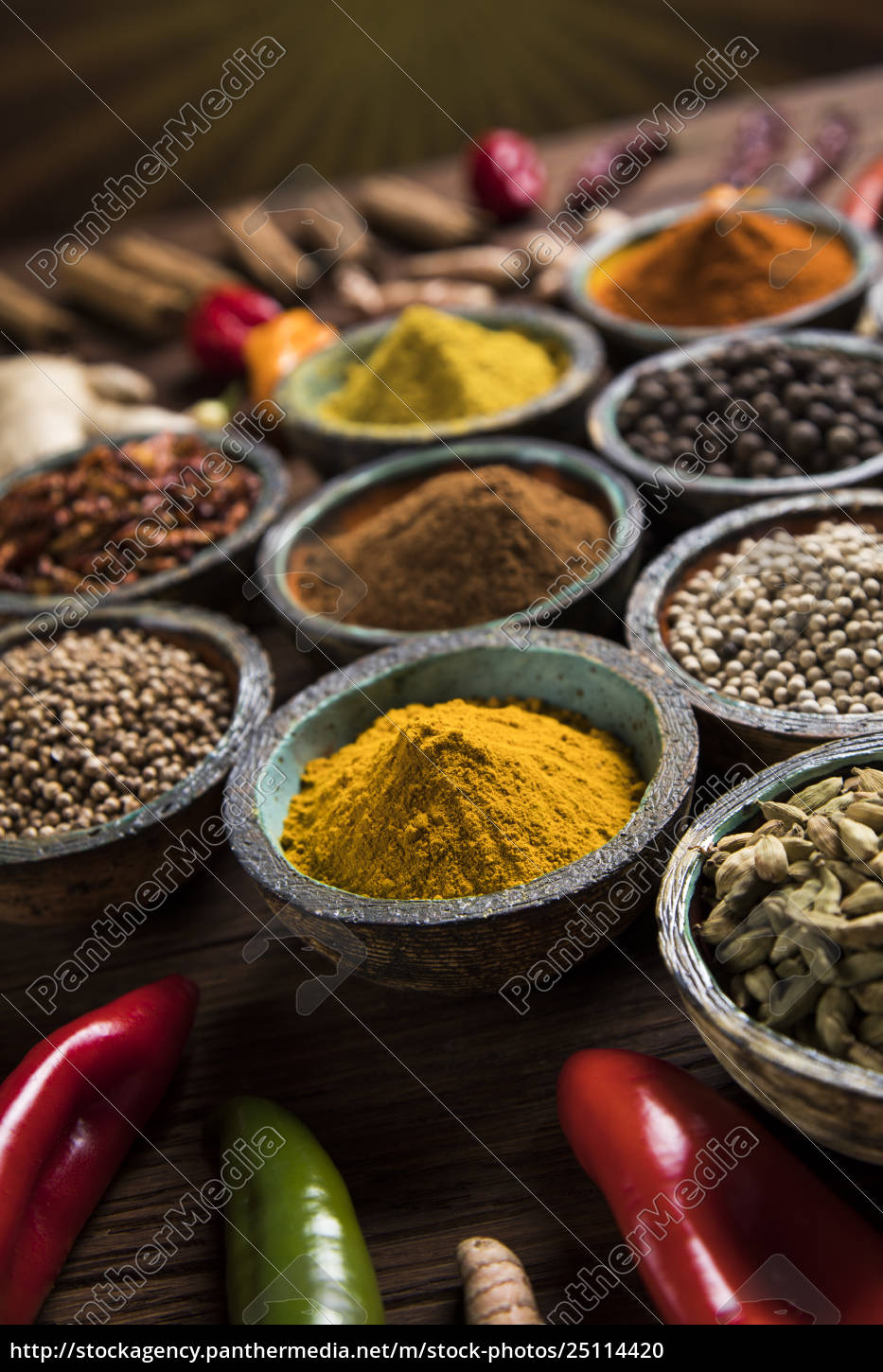 spices, and, herbs, and, wooden, bowl - 25114420