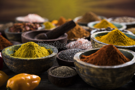 wooden, bowl, , hot, spices - 25114418