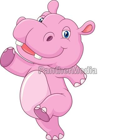 cartoon cute baby hippo running and