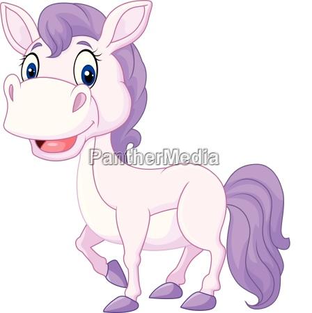 cartoon cute beautiful baby pony isolated