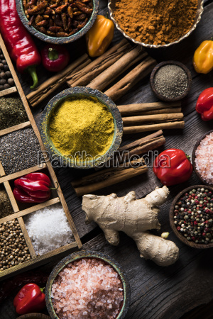 herbs, and, spices, on, a, wooden - 25120694