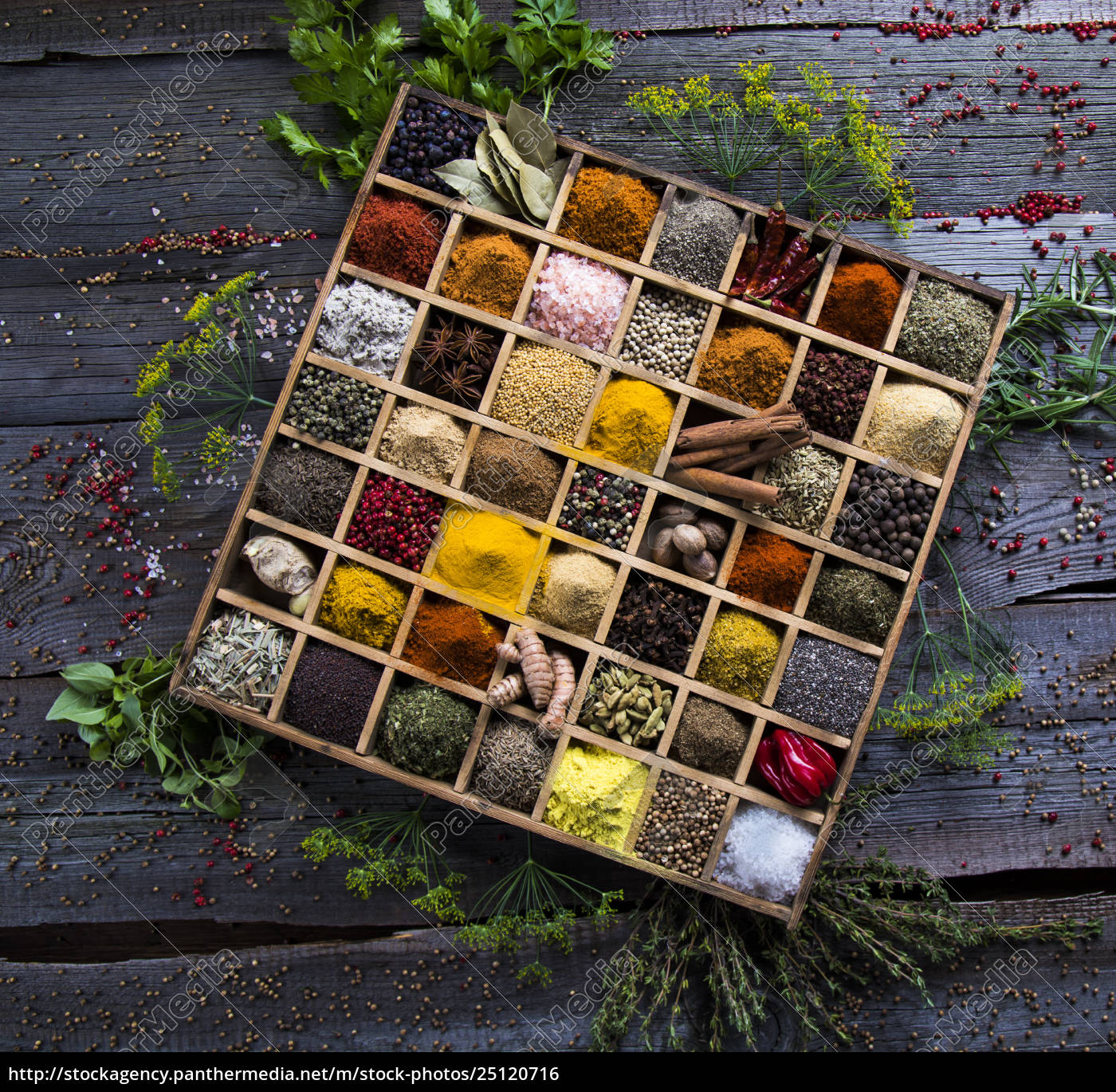 herbs, and, spices, on, a, wooden - 25120716