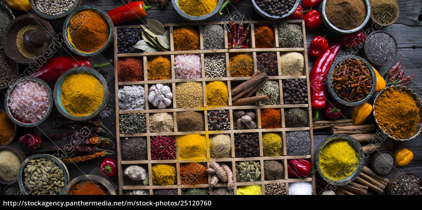 herbs, and, spices, on, a, wooden - 25120760