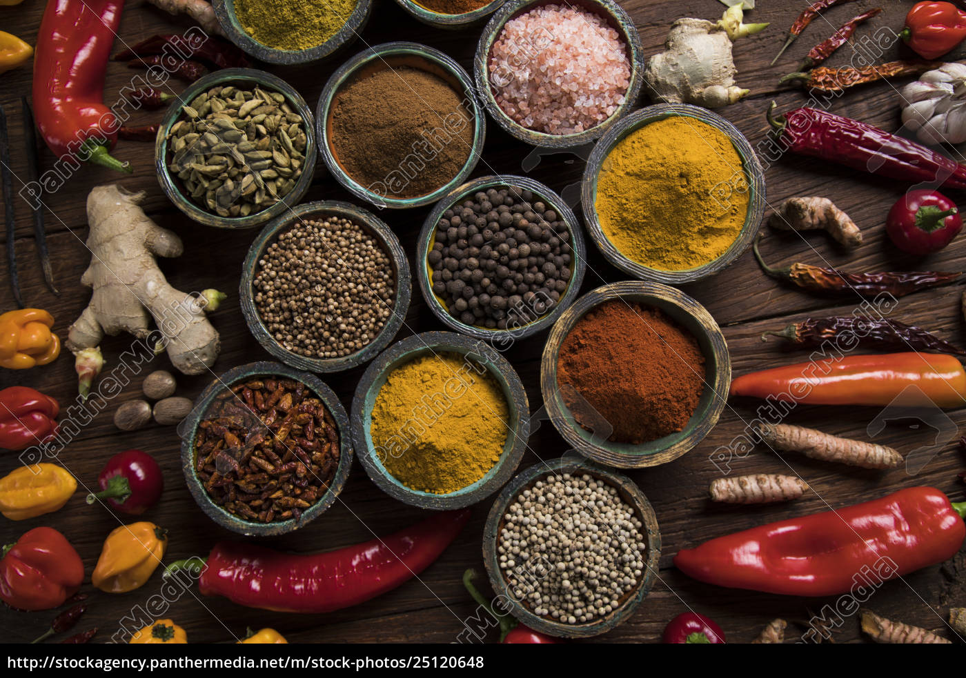 spices, and, herbs, and, wooden, bowl - 25120648