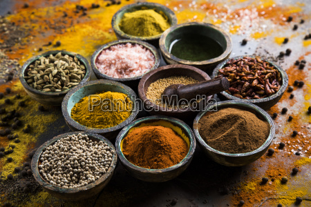 spices, and, herbs, and, wooden, bowl - 25120668