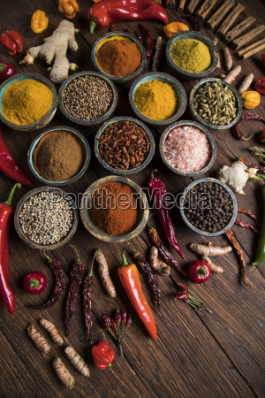 spices, and, herbs, and, wooden, bowl - 25120696