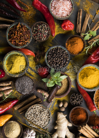 spices, and, herbs, and, wooden, bowl - 25120734