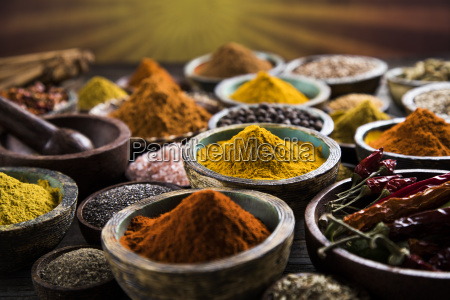 spices, on, wooden, bowl, background - 25120296